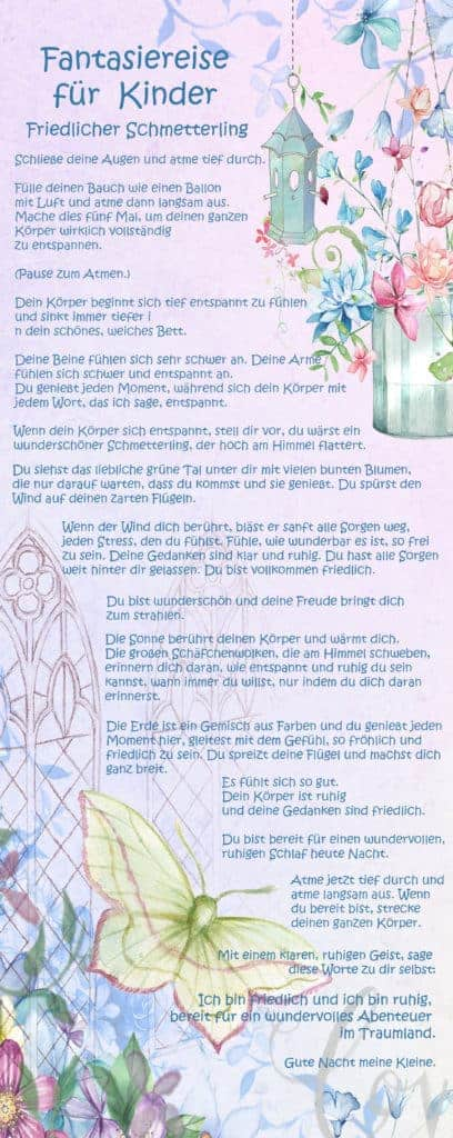 Fantasiereise für Kinder Text friedlicher Schmetterling