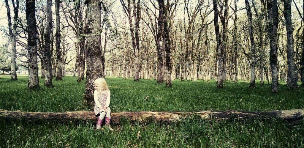 kleines Mädchen sitzt im Wald auf einem Baumstamm